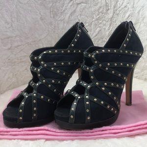 Shoedazzle studded navy high heel